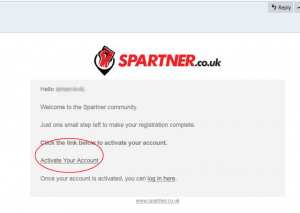 Spartner- new account activation email